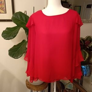 Gorgeous red long-sleeve blouse